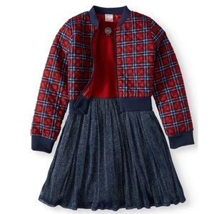 Other - Tull Dress and quilted Plaid Bomber Jacket   set